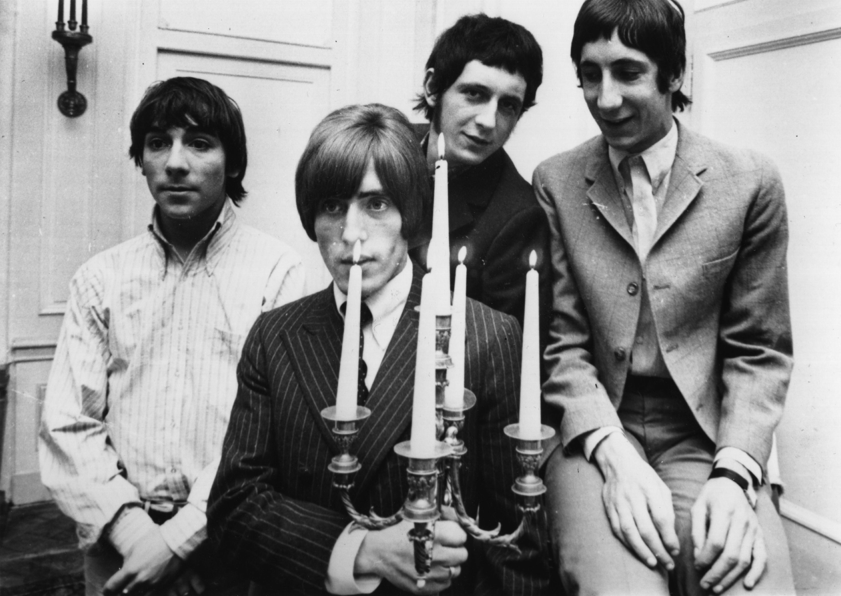 English rock group The Who, during their 1966 German/Swiss tour, from left to right; drummer Keith Moon (1947 - 1978), Roger Daltrey (vocals), John Entwistle (1944 - 2002, bass guitar) and Pete Townshend (guitar).    (Photo by Keystone/Getty Images)