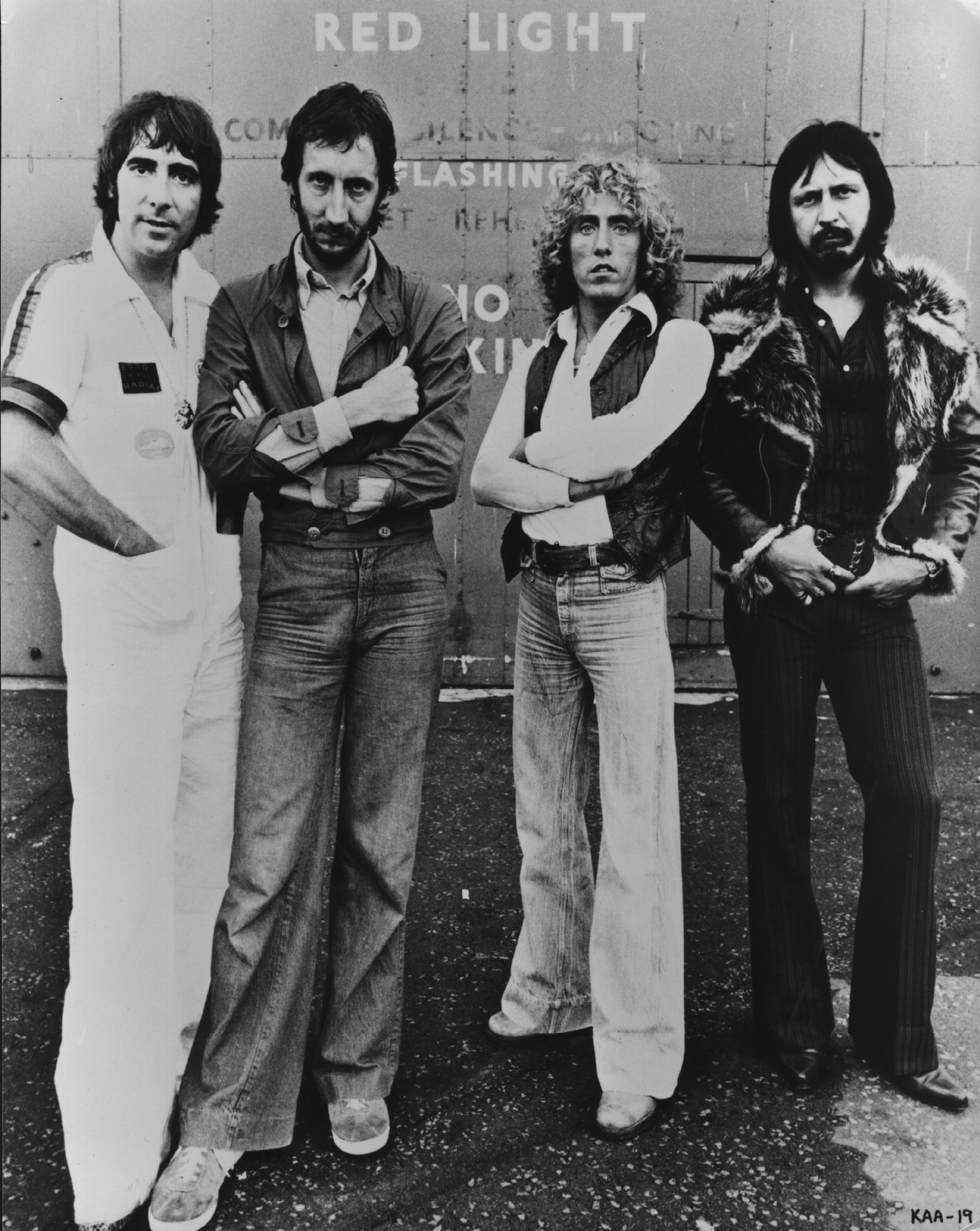 British rock group The Who, comprising of, from left to right; Keith Moon (1947 - 1978), Pete Townshend, Roger Daltrey and John Entwistle (1944 - 2002). The group are currently working on a film, 'The Kids Are Alright', which looks back at fifteen years of The Who on the road, in recording studios and interviews.    (Photo by Keystone/Getty Images)