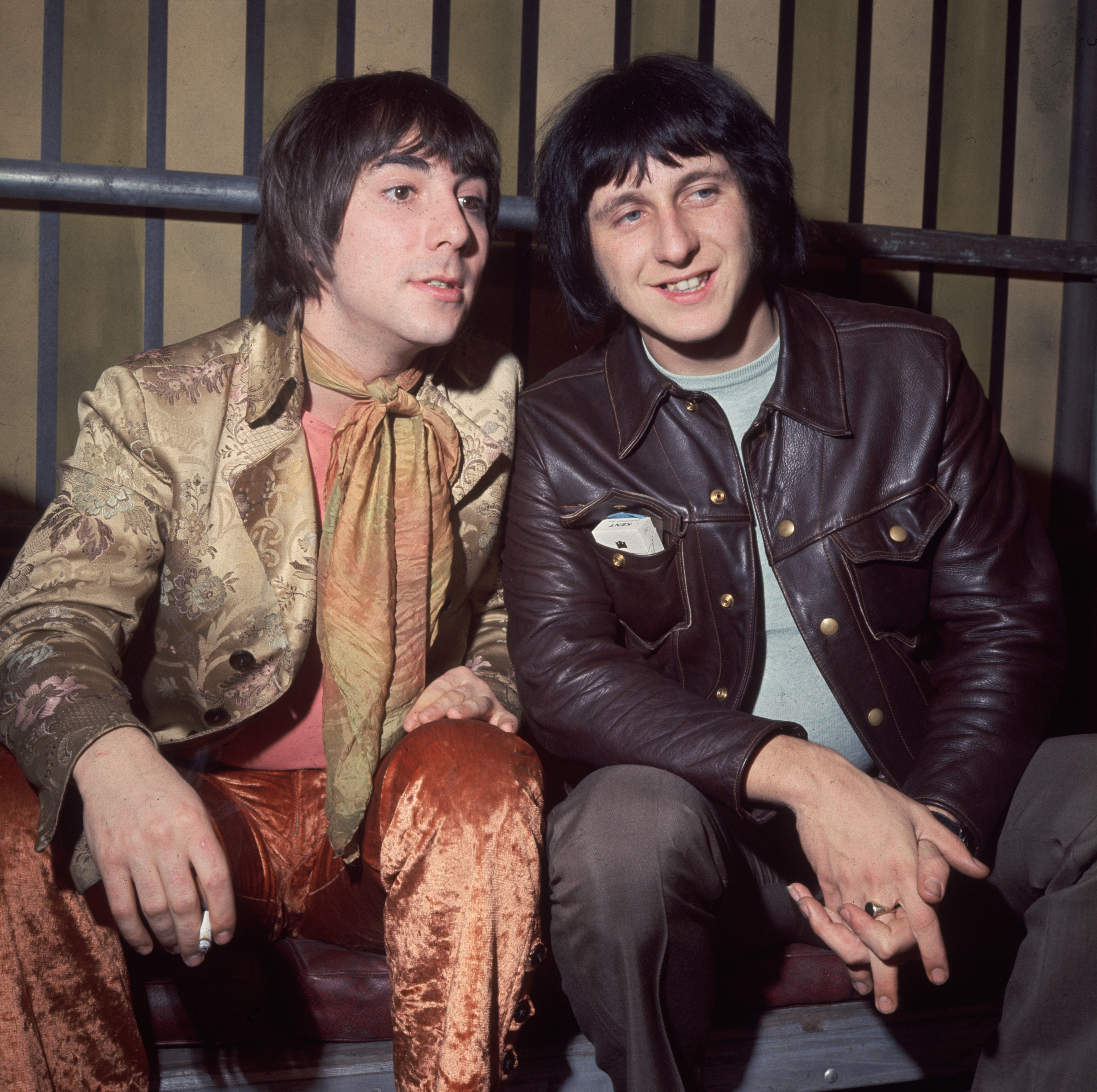 10th December 1968:  Keith Moon (1947-1978), the drummer of the British mod band 'The Who' with his bandmate, bass guitarist John Entwistle (1944 - 2002), Internel Studios in Stonebridge Park, Wembley, during the making of the unreleased Rolling Stones film 'Rock 'n' Roll Circus'.  (Photo by Hulton Archive/Getty Images)
