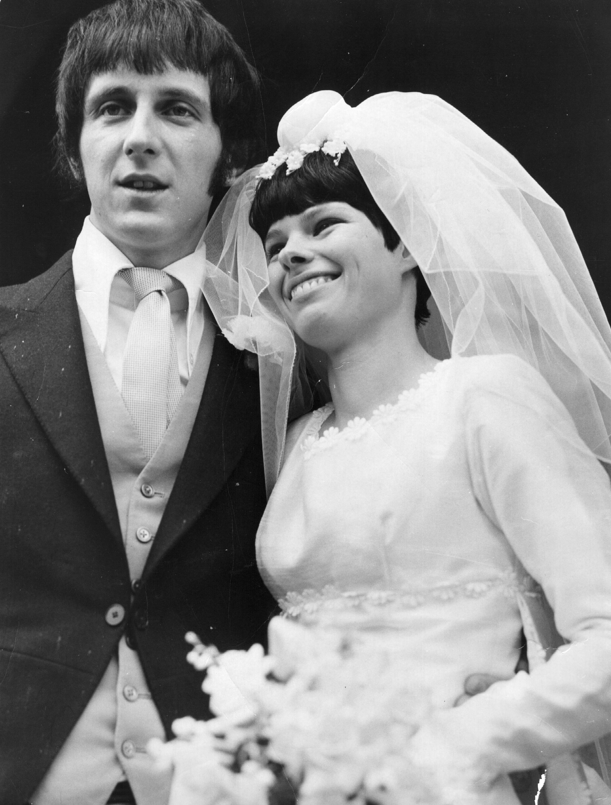 24th June 1967:  John Entwistle (1944 - 2002), bass player with British pop group The Who, weds MIss Alison Wise.  (Photo by Evening Standard/Getty Images)
