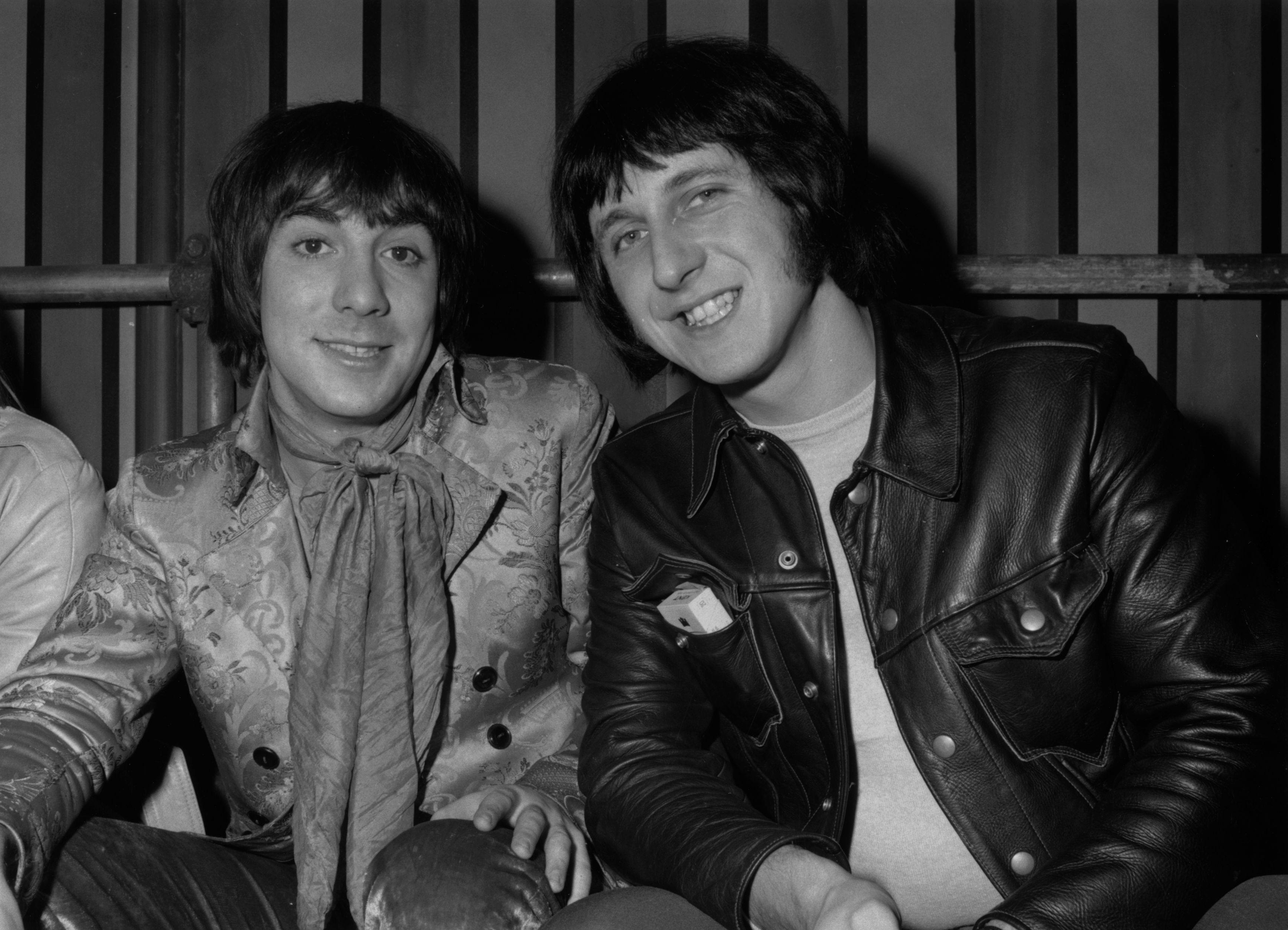 10th December 1968:  Keith Moon (1947-1978, left) and John Entwistle (1944 - 2002) of 'The Who' at Internel Studios in Stonebridge Park, Wembley, where the Rolling Stones are shooting a TV spectacular, 'The Rolling Stone Rock 'n Roll Circus show'.  (Photo by Mike Lawn/Fox Photos/Getty Images)
