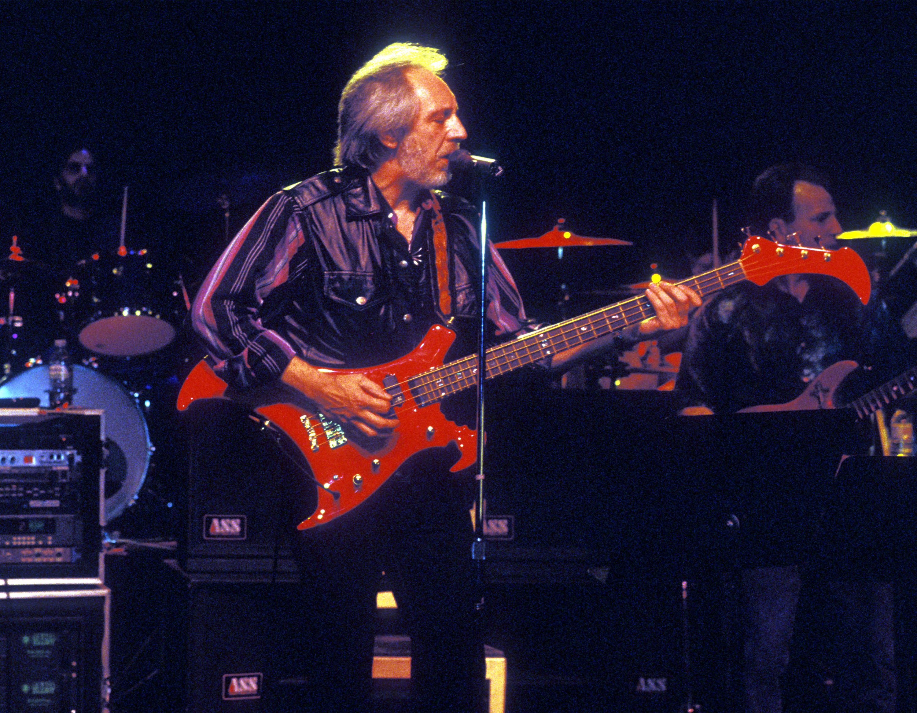 VANCOUVER, CANADA:  John Entwistle plays with the Ringo Starr band in the summer of 1995 in Vancouver, Candada.  Entwistle died June 27, 2002.  (Photo by Jeff Vinnick/Getty Images)