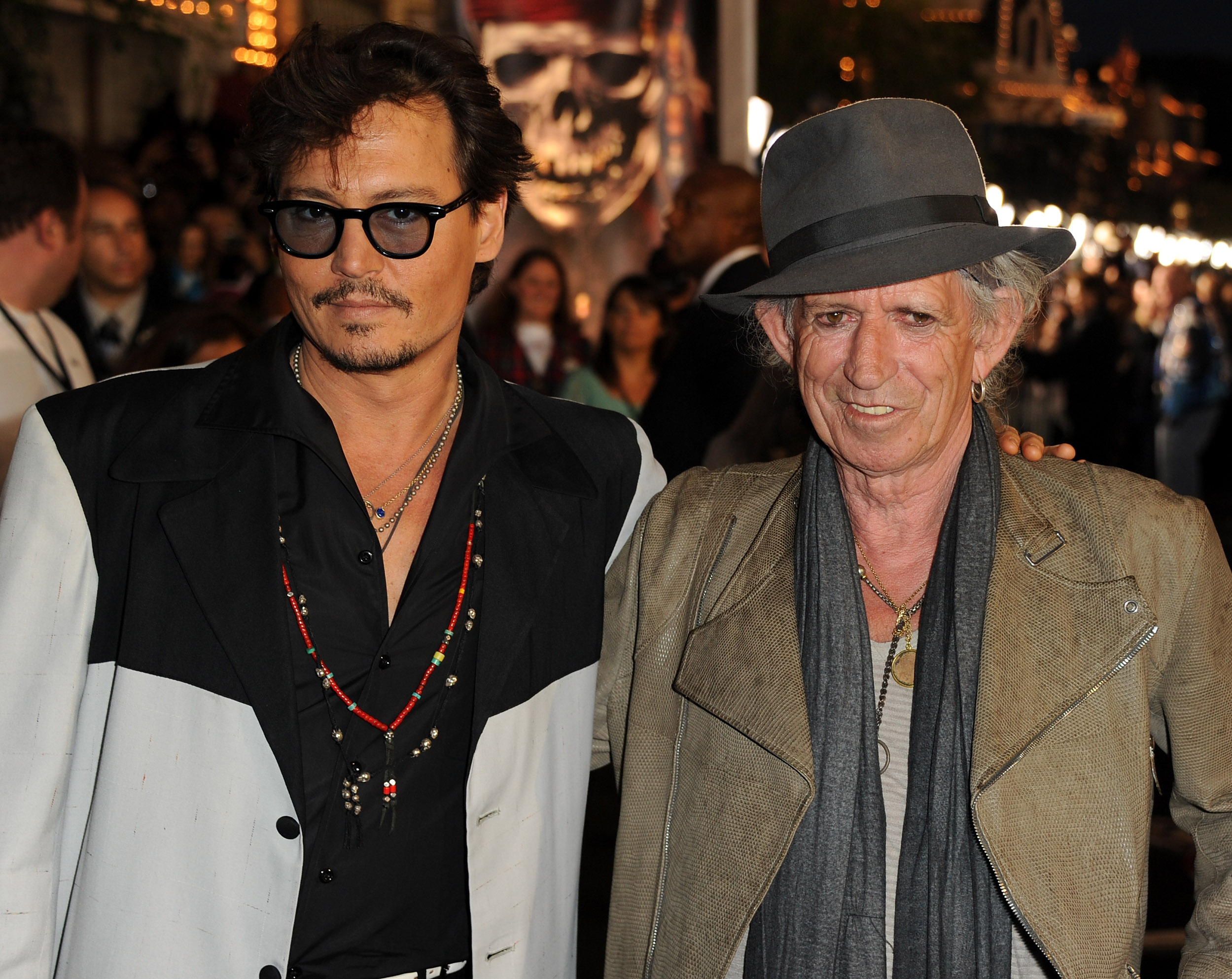 """ANAHEIM, CA - MAY 07:  Actor Johnny Depp (L) and actor/musician Keith Richards arrive at premiere of Walt Disney Pictures' """"Pirates of the Caribbean: On Stranger Tides"""" held at Disneyland on May 7, 2011 in Anaheim, California. Proceeds from the world premiere of Walt Disney Pictures' """"Pirates Of The Caribbean: On Stranger Tides"""" will benefit the Boys & Girls Clubs of America.  (Photo by Kevin Winter/Getty Images)"""