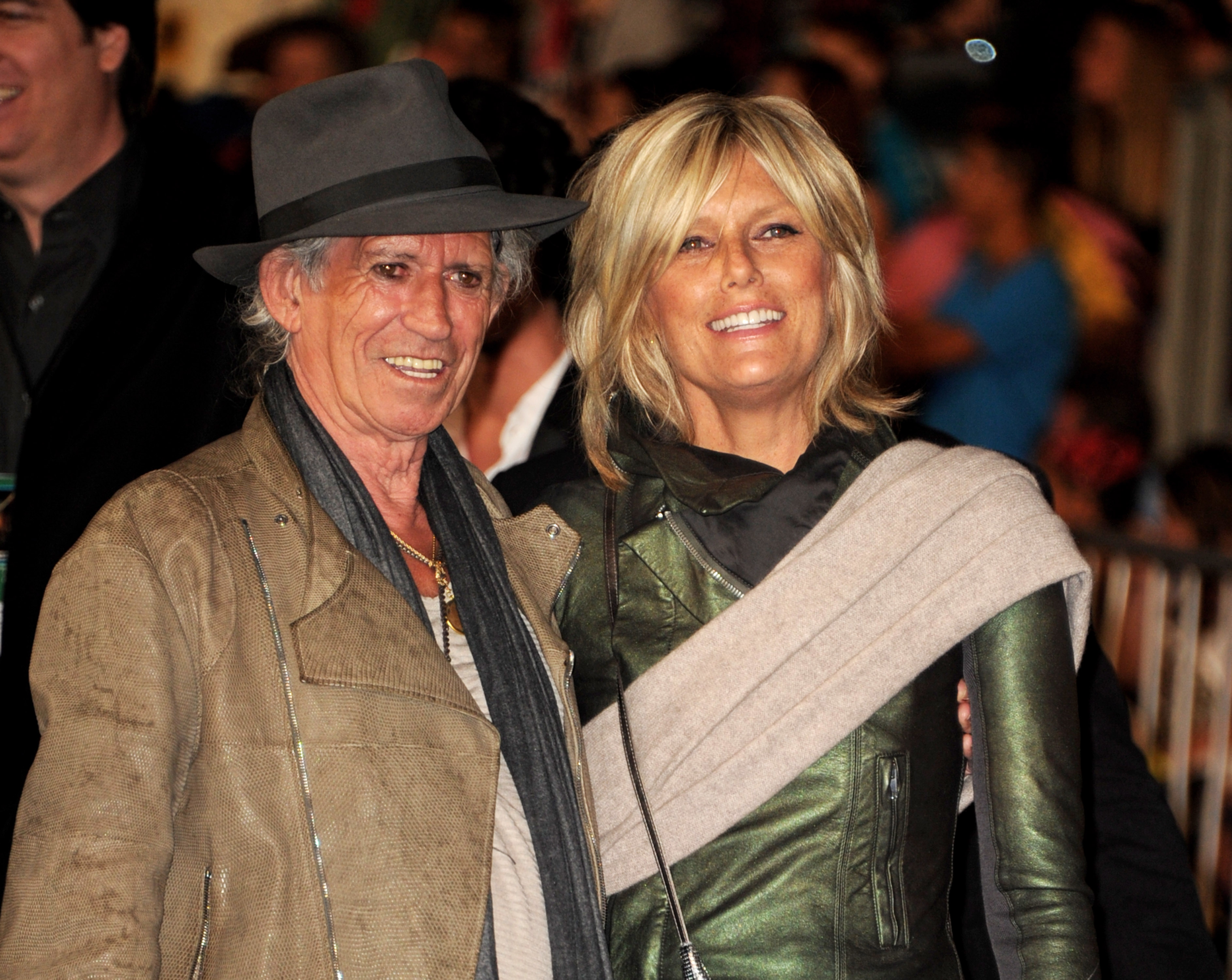 """ANAHEIM, CA - MAY 07:  Musician Keith Richards (L) and his wife Patti Hansen arrive at the premiere of Walt Disney Pictures' """"Pirates of the Caribbean: On Stranger Tides"""" at Disneyland on May 7, 2011 in Anaheim, California.  (Photo by Kevin Winter/Getty Images)"""