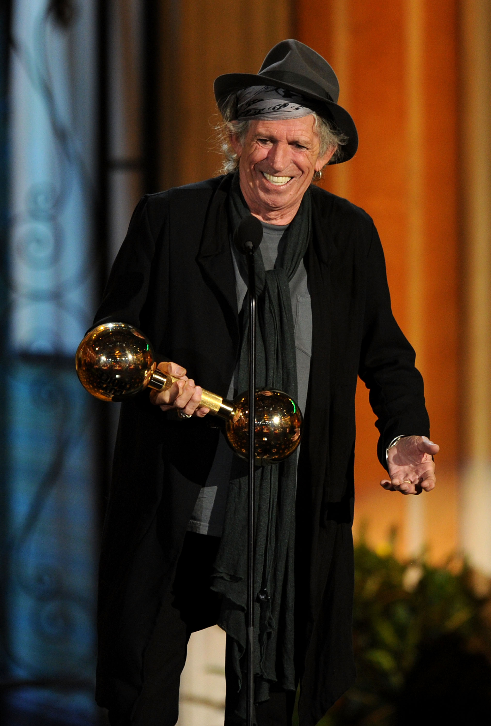 """CULVER CITY, CA - JUNE 04:  Musician Keith Richards accepts the Brass Balls award onstage during Spike TV's 5th annual 2011 """"Guys Choice"""" Awards at Sony Pictures Studios on June 4, 2011 in Culver City, California.  (Photo by Kevin Winter/Getty Images)"""