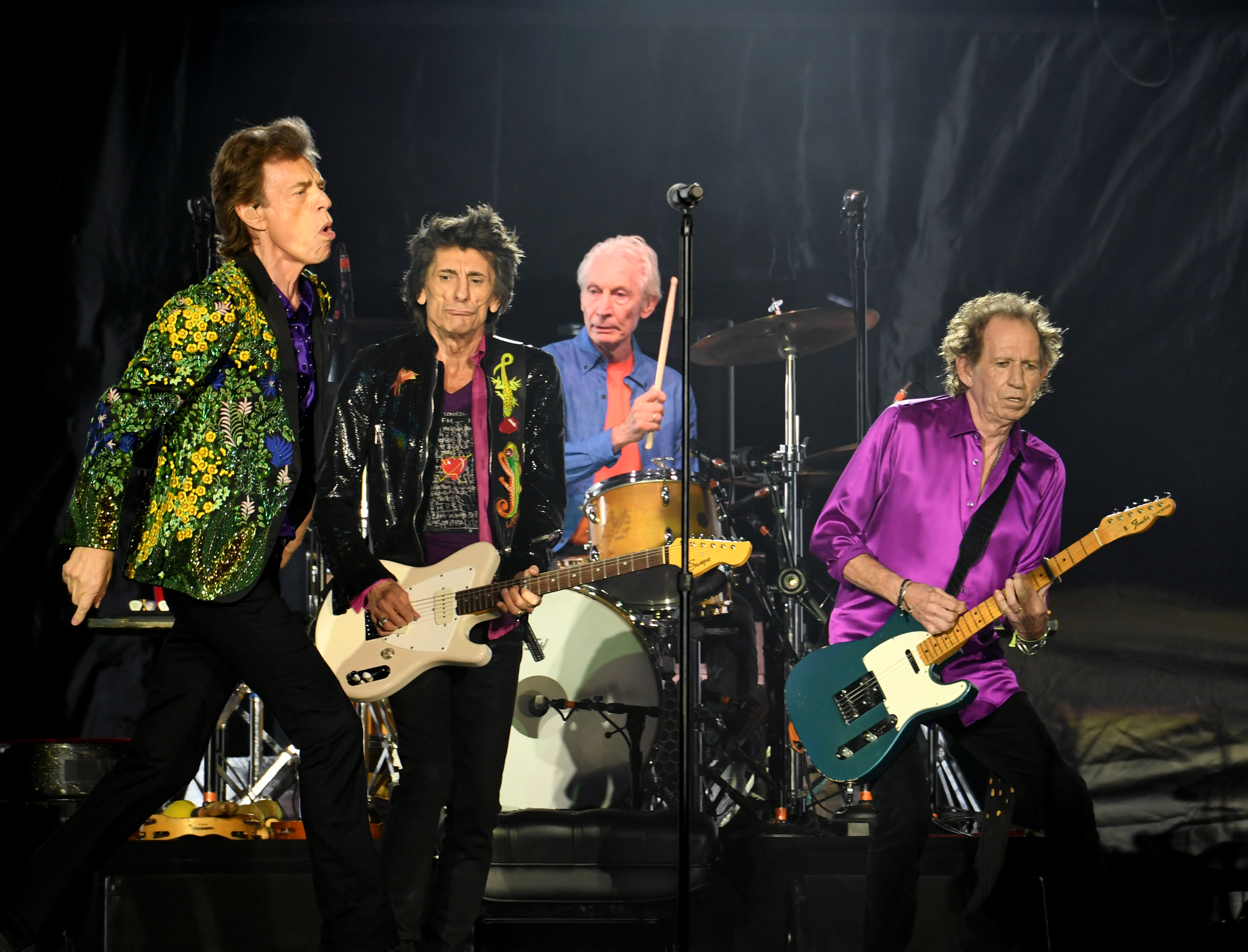 PASADENA, CALIFORNIA - AUGUST 22: (L-R) Mick Jagger, Ronnie Wood, Charlie Watts and Keith Richards of The Rolling Stones perform onstage at Rose Bowl on August 22, 2019 in Pasadena, California. (Photo by Kevin Winter/Getty Images)