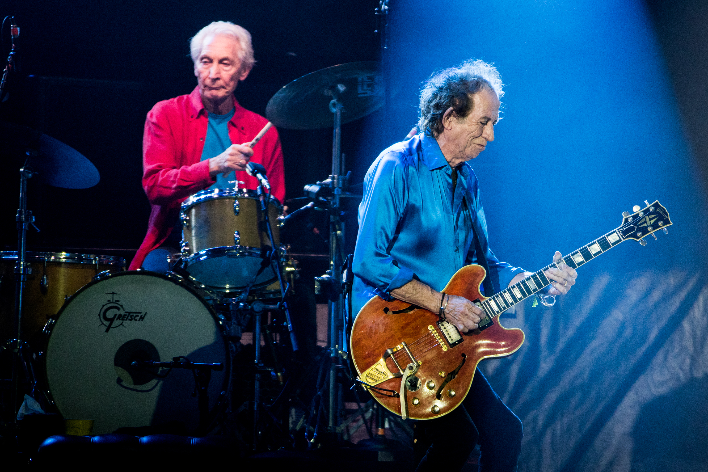 MIAMI, FLORIDA - AUGUST 30: Charlie Watts and Keith Richards of The Rolling Stones perform onstage at Hard Rock Stadium on August 30, 2019 in Miami, Florida. (Photo by Rich Fury/Getty Images)