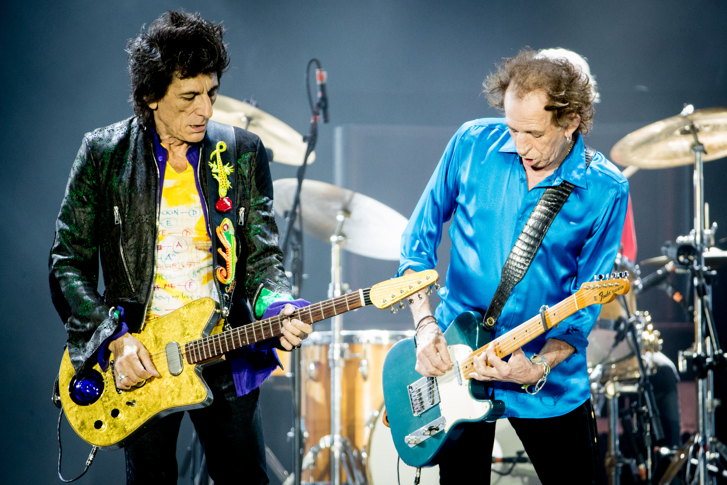 MIAMI, FLORIDA - AUGUST 30: Ronnie Wood and Keith Richards of The Rolling Stones perform onstage at Hard Rock Stadium on August 30, 2019 in Miami, Florida. (Photo by Rich Fury/Getty Images)