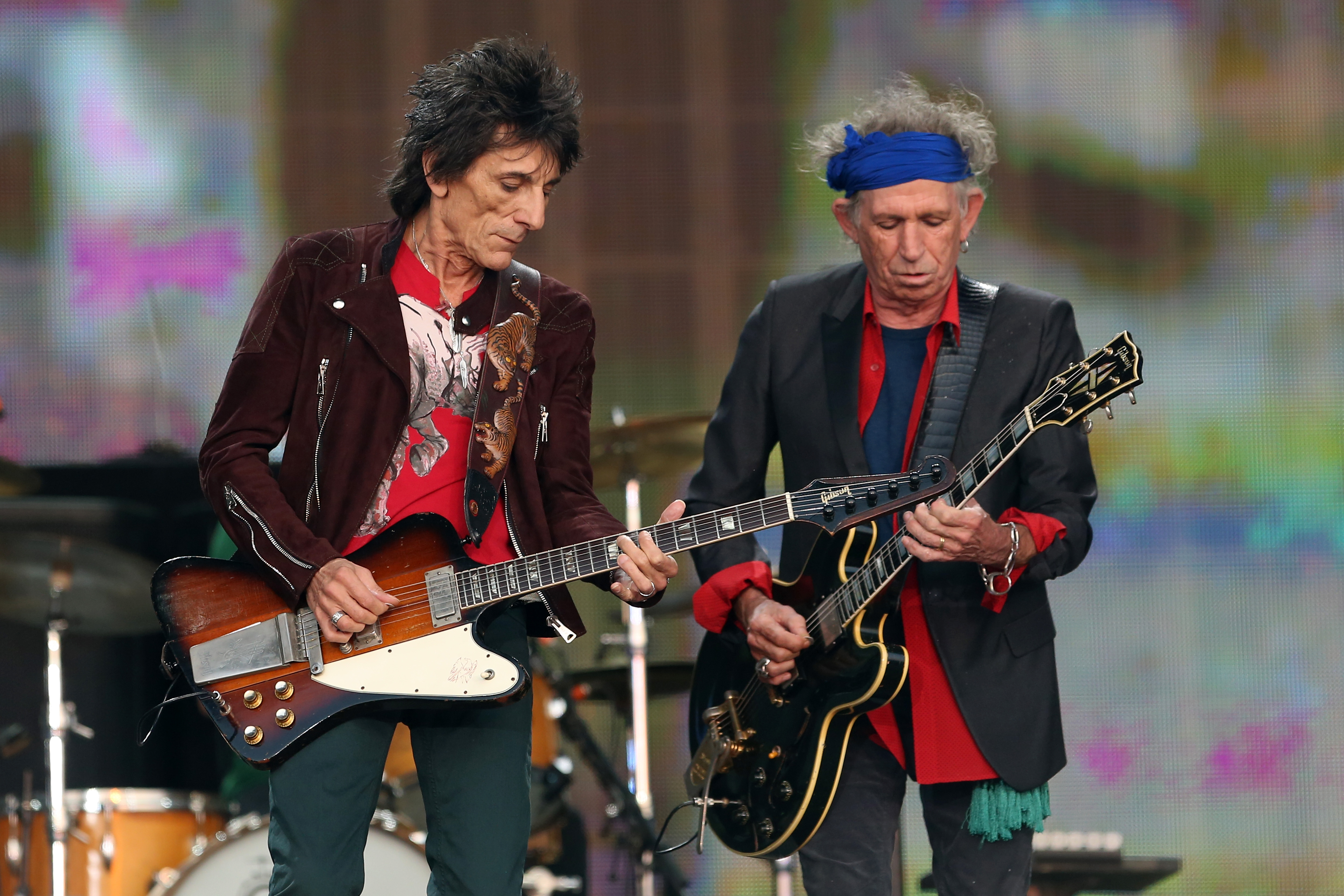 LONDON, ENGLAND - JULY 06:  Ronnie Wood and Keith Richards of The Rolling Stones perform live on stage during day two of British Summer Time Hyde Park presented by Barclaycard at Hyde Park on July 6, 2013 in London, England.  (Photo by Simone Joyner/Getty Images)