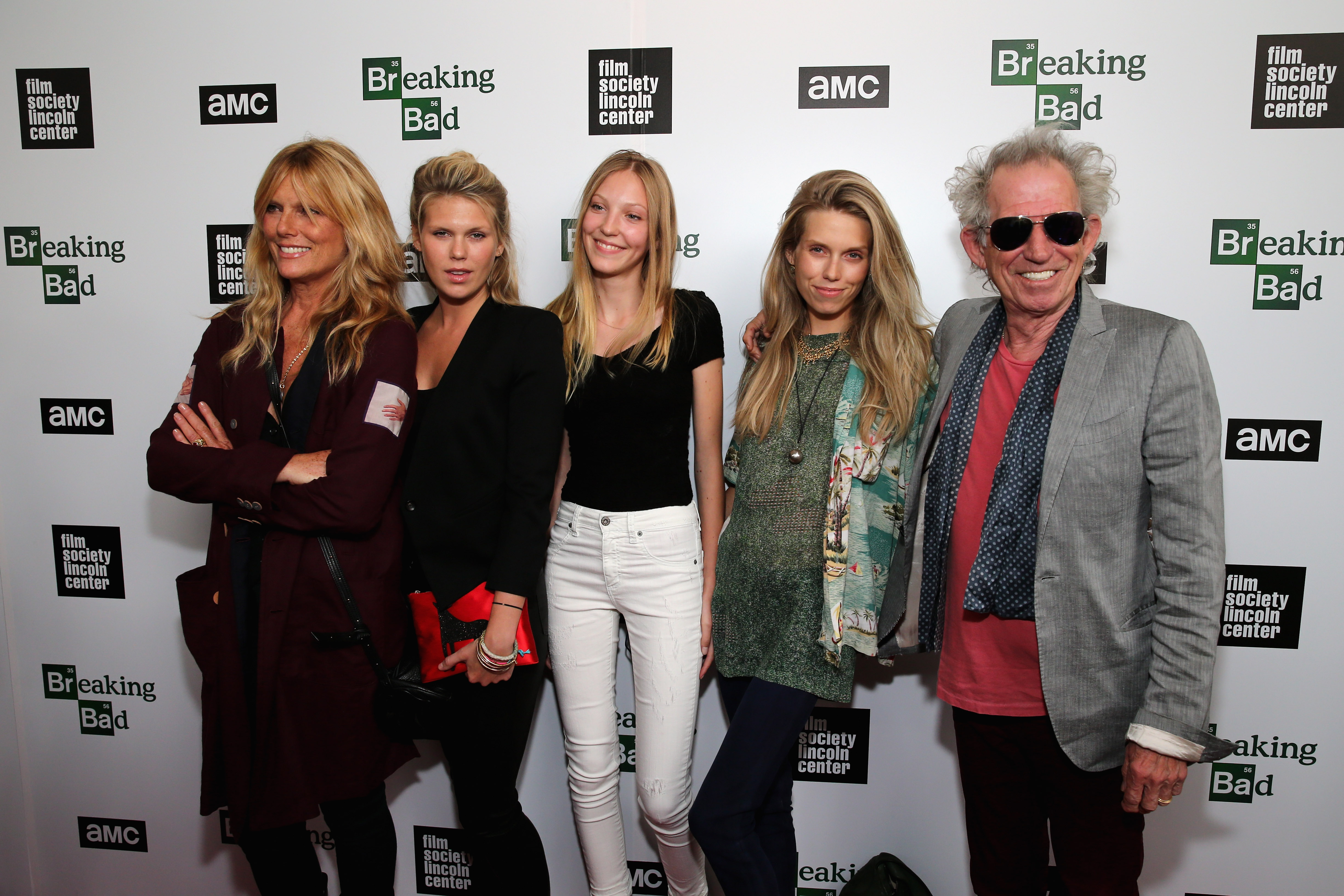 """NEW YORK, NY - JULY 31:  (L-R) Models Patti Hansen, Alexandra Richards, Ella Richards, Theodora Richards, and musician Keith Richards attend The Film Society of Lincoln Center and AMC Celebration of """"Breaking Bad"""" Final Episodes  at The Film Society of Lincoln Center, Walter Reade Theatre on July 31, 2013 in New York City.  (Photo by Neilson Barnard/Getty Images)"""