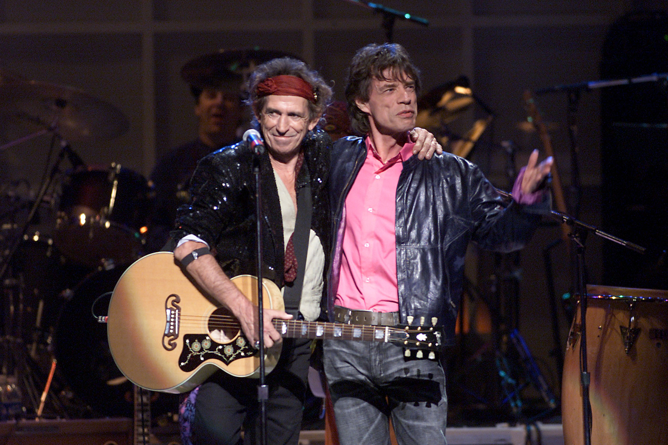 Keith Richards and Mick Jagger of The Rolling Stones onstage performing at The Concert for New York City to benefit the victims of the World Trade Center disaster.  October 20, 2001 (Photo: Scott Gries/ImageDirect)