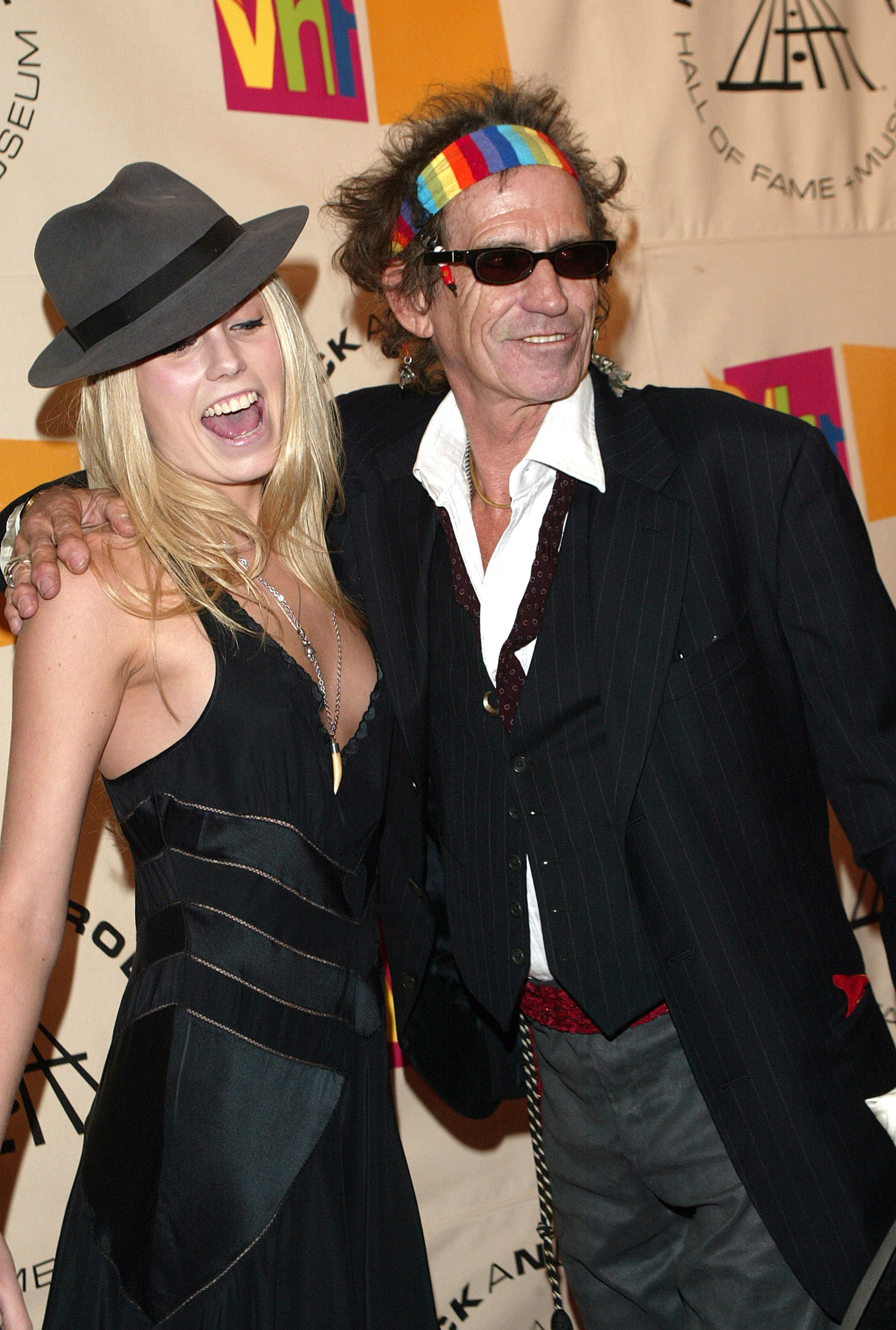 NEW YORK - MARCH 15:  Keith Richards and daughter Alexandra Richards arrive at the Rock & Roll Hall Of Fame 19th Annual Induction Dinner at the Waldorf Astoria Hotel March 15, 2004 in New York City.  (Photo by Evan Agostini/Getty Images)