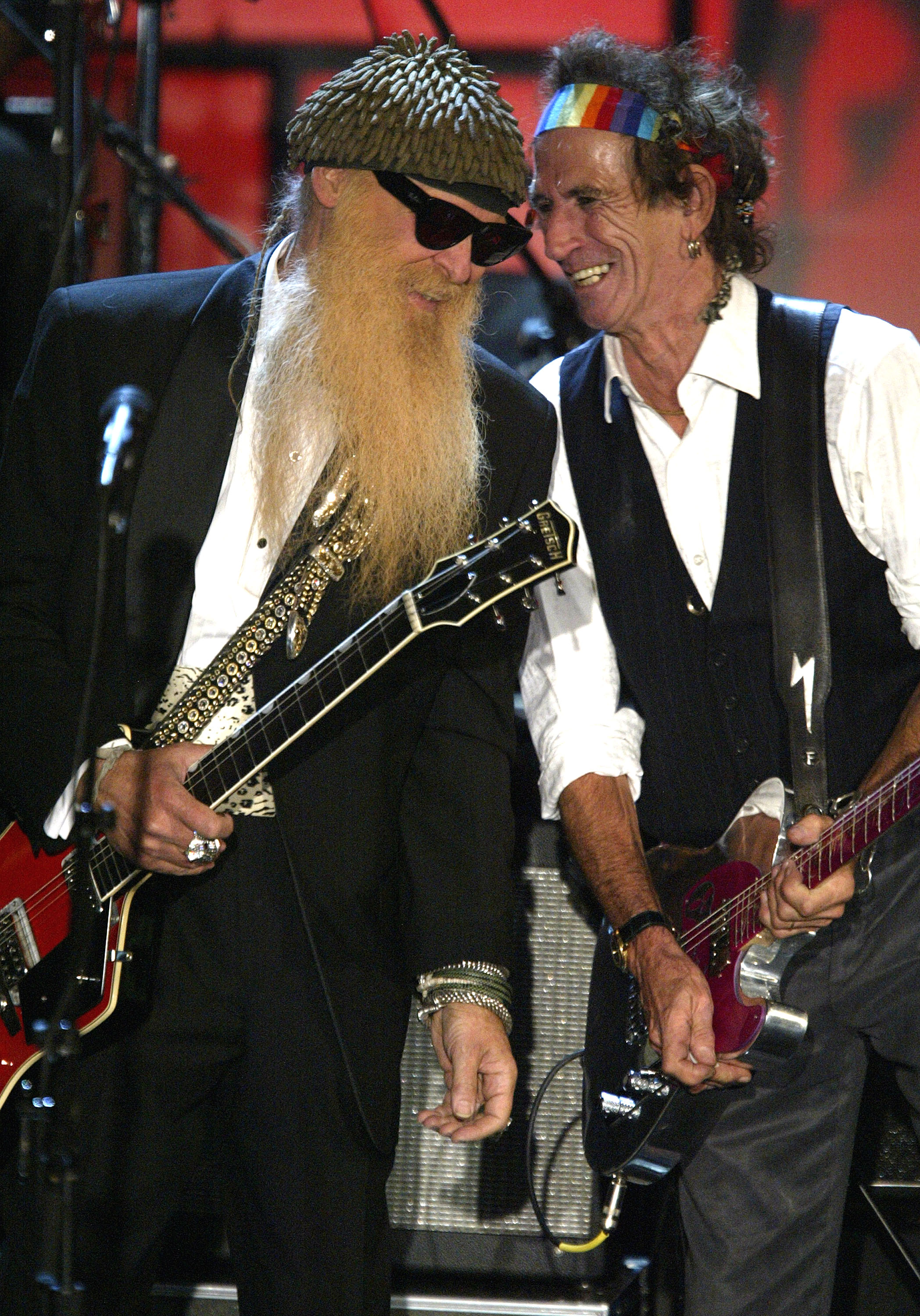 NEW YORK - MARCH 15:  ZZ Top and Keith Richards perform onstage at the Rock & Roll Hall Of Fame 19th Annual Induction Dinner at the Waldorf Astoria Hotel March 15, 2004 in New York City.  (Photo by Frank Micelotta/Getty Images)