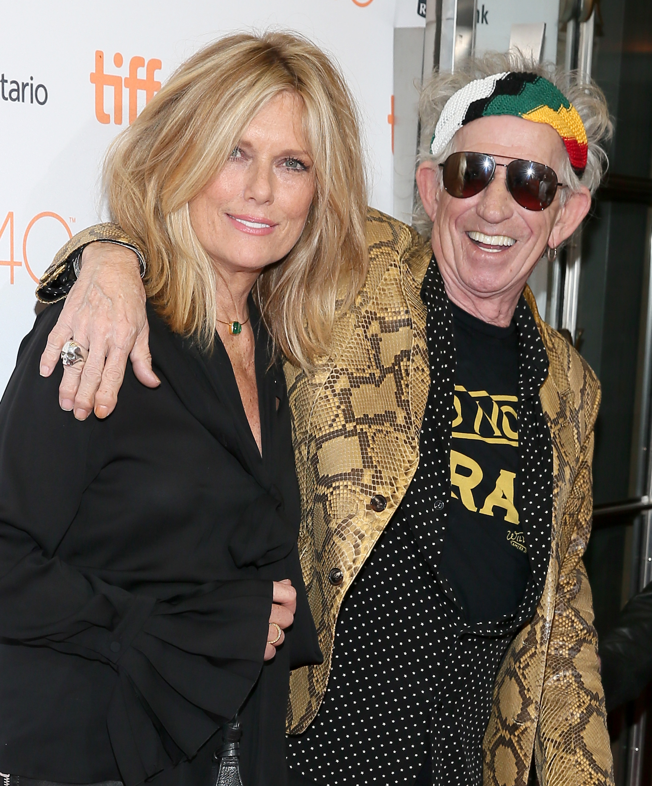 """TORONTO, ON - SEPTEMBER 17:  Musician Keith Richards (R) and Patti Hansen attend the """"Keith Richards: Under The Influence"""" premiere during the 2015 Toronto International Film Festival at Princess of Wales Theatre on September 17, 2015 in Toronto, Canada.  (Photo by Jemal Countess/Getty Images)"""