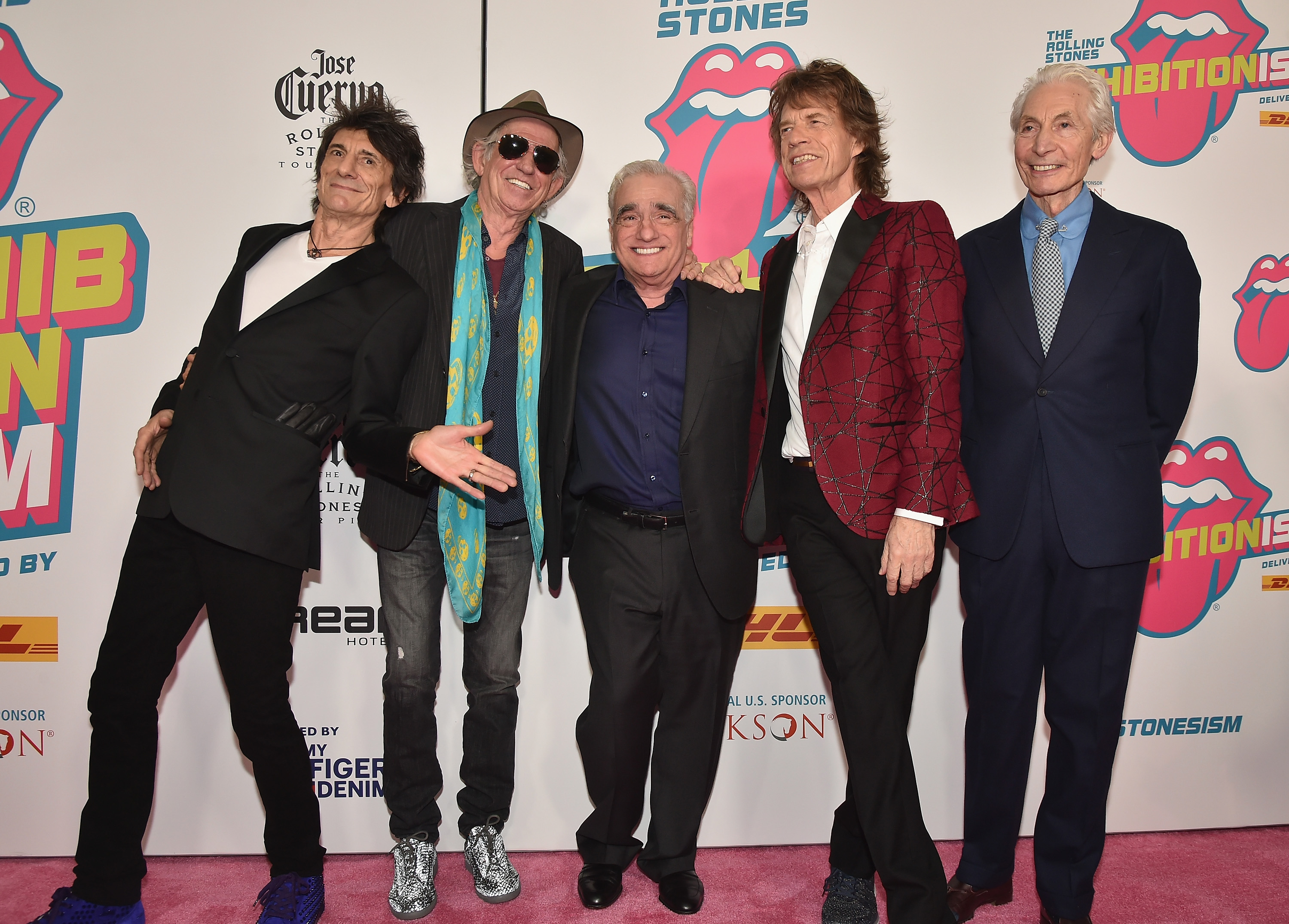 NEW YORK, NY - NOVEMBER 15:  (L-R) Ronnie Wood, Keith Richards, director Martin Scorsese, Mick Jagger, and Charlie Watts attend The Rolling Stones celebrate the North American debut of Exhibitionism at Industria in the West Village on November 15, 2016 in New York City.  (Photo by Theo Wargo/Getty Images for The Rolling Stones)