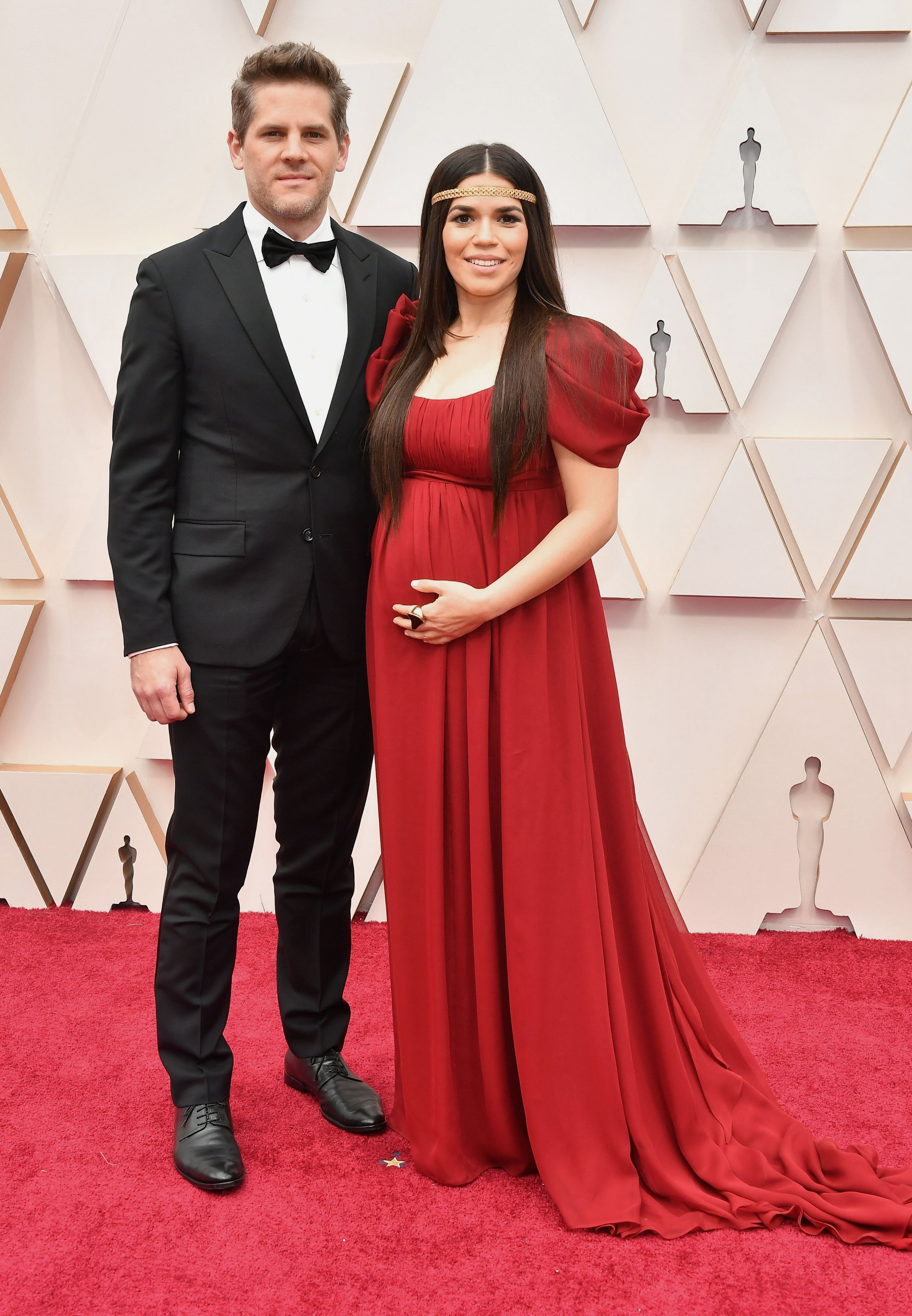 HOLLYWOOD, CALIFORNIA - FEBRUARY 09: (L-R) Ryan Piers Williams and America Ferrera attend the 92nd Annual Academy Awards at Hollywood and Highland on February 09, 2020 in Hollywood, California. (Photo by Amy Sussman/Getty Images)
