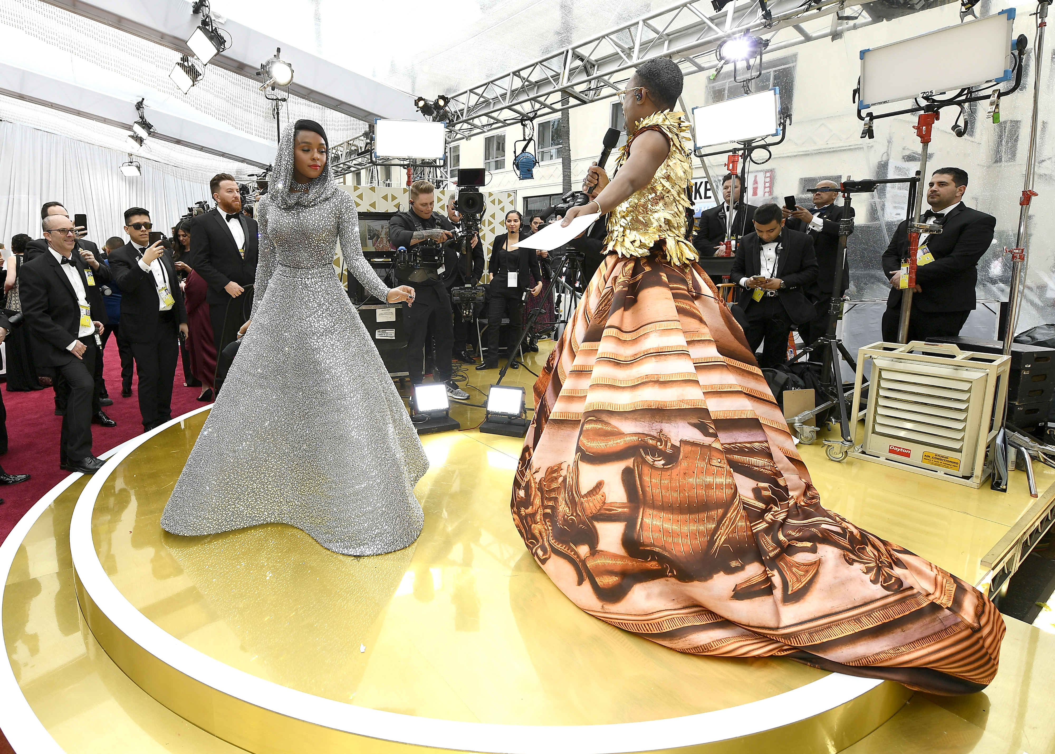 HOLLYWOOD, CALIFORNIA - FEBRUARY 09: Janelle Monáe and  Billy Porter attend the 92nd Annual Academy Awards at Hollywood and Highland on February 09, 2020 in Hollywood, California.