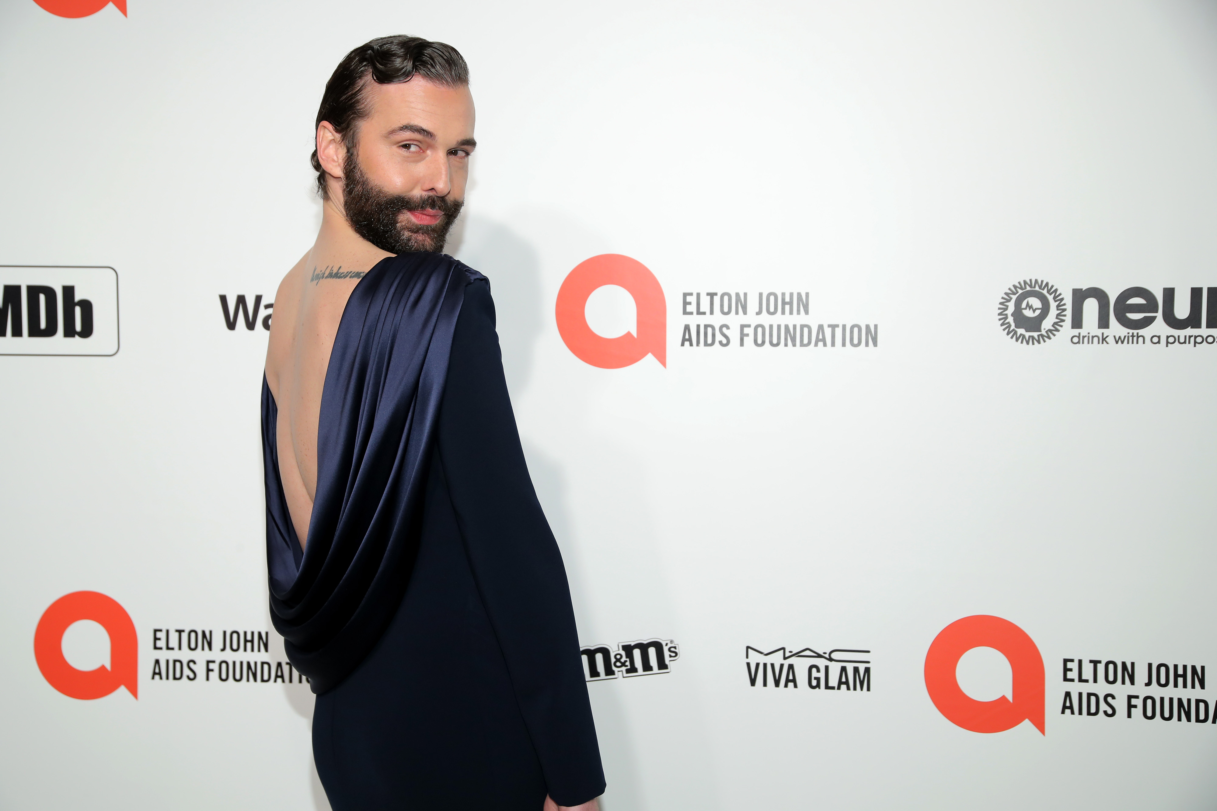 WEST HOLLYWOOD, CALIFORNIA - FEBRUARY 09: Jonathan Van Ness attends the 28th Annual Elton John AIDS Foundation Academy Awards Viewing Party sponsored by IMDb, Neuro Drinks and Walmart on February 09, 2020 in West Hollywood, California. (Photo by Jemal Countess/Getty Images)