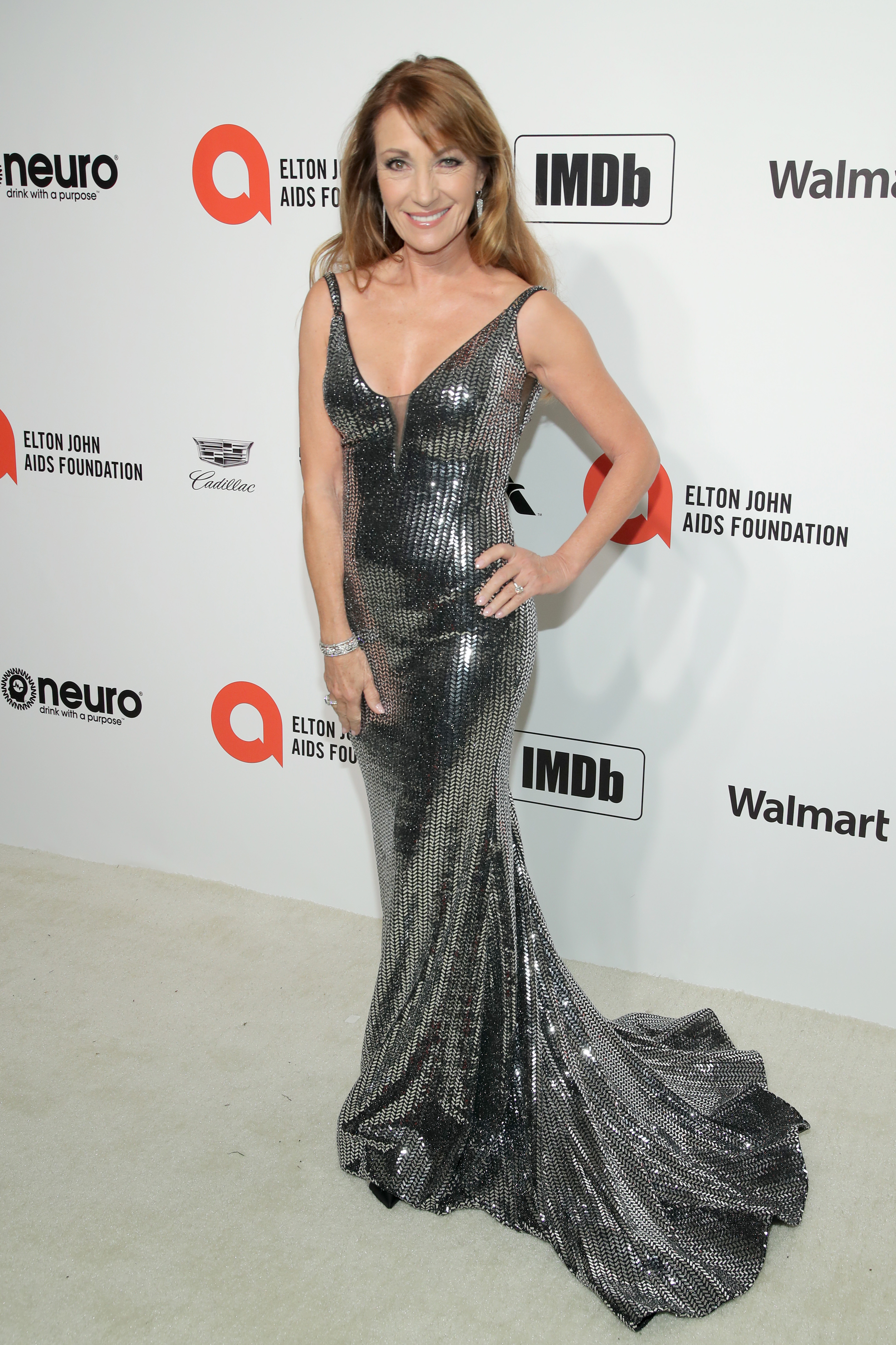 WEST HOLLYWOOD, CALIFORNIA - FEBRUARY 09: Jane Seymour attends the 28th Annual Elton John AIDS Foundation Academy Awards Viewing Party sponsored by IMDb, Neuro Drinks and Walmart on February 09, 2020 in West Hollywood, California. (Photo by Jemal Countess/Getty Images)