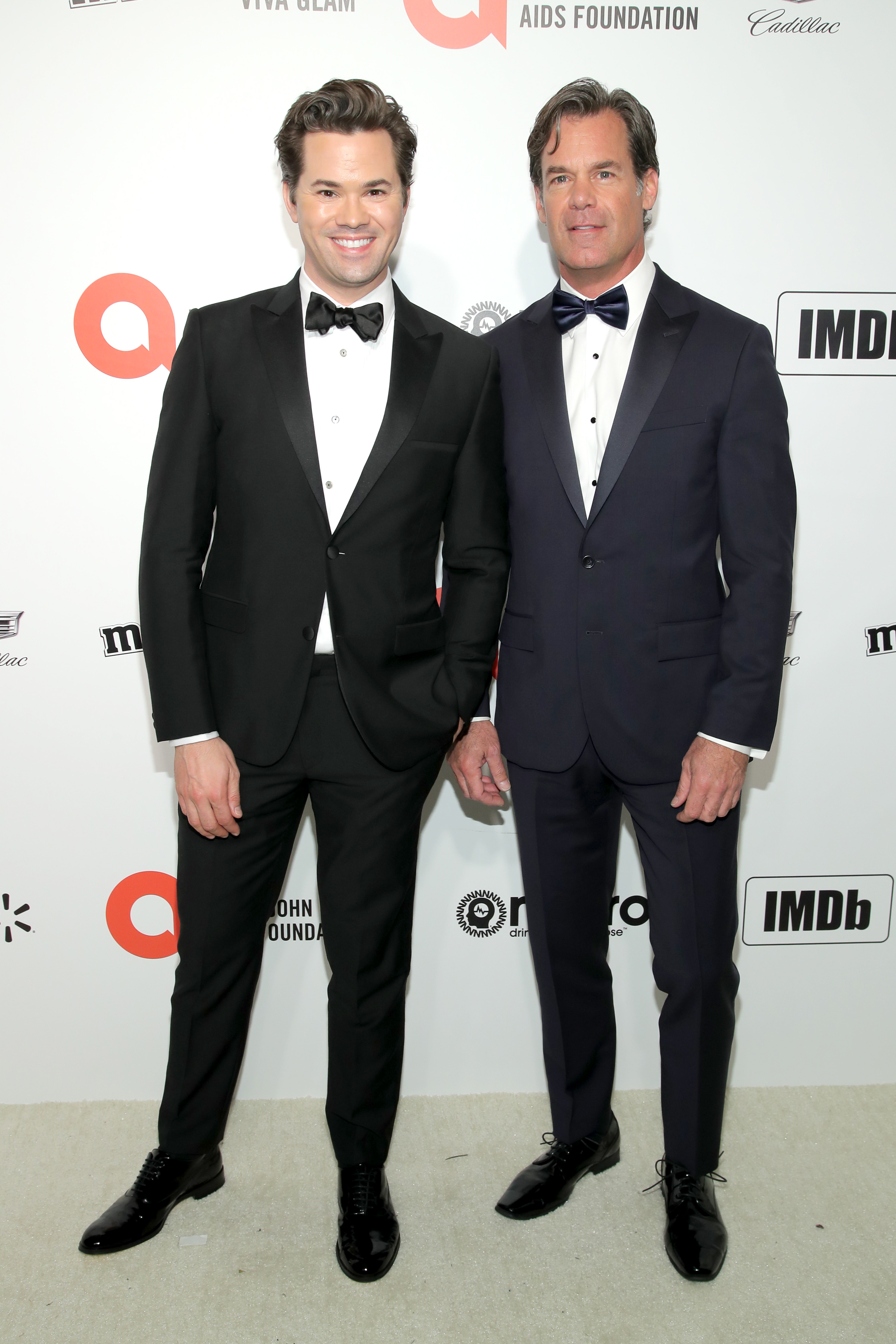 WEST HOLLYWOOD, CALIFORNIA - FEBRUARY 09: (L-R) Andrew Rannells and Tuc Watkins attend the 28th Annual Elton John AIDS Foundation Academy Awards Viewing Party sponsored by IMDb, Neuro Drinks and Walmart on February 09, 2020 in West Hollywood, California. (Photo by Jemal Countess/Getty Images)