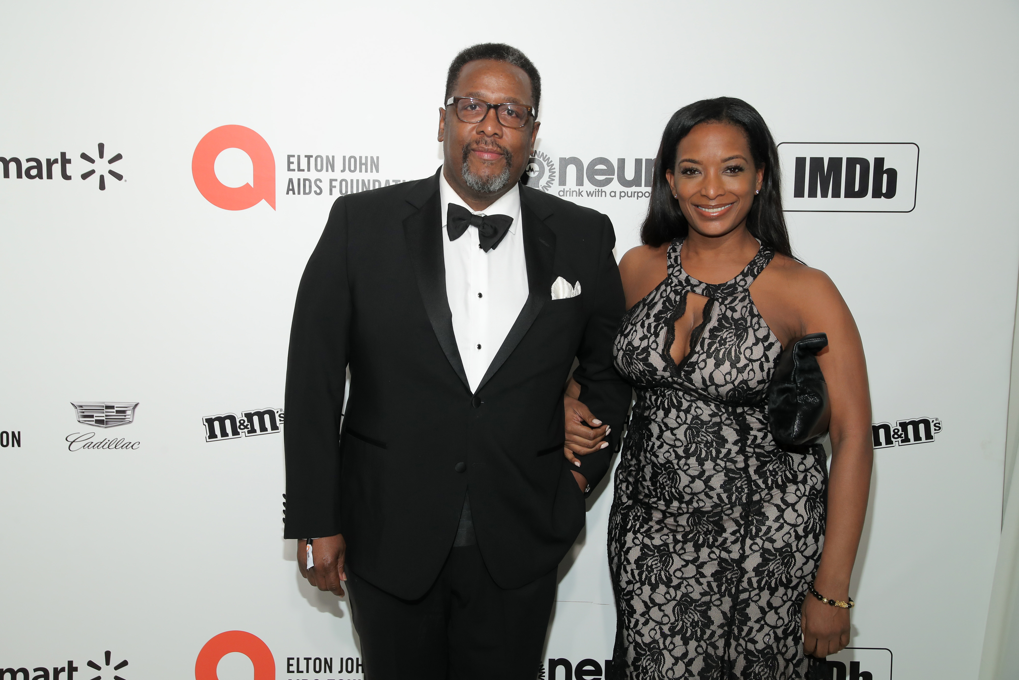 WEST HOLLYWOOD, CALIFORNIA - FEBRUARY 09: (L-R) Wendell Pierce and Erika Woods attend the 28th Annual Elton John AIDS Foundation Academy Awards Viewing Party sponsored by IMDb, Neuro Drinks and Walmart on February 09, 2020 in West Hollywood, California. (Photo by Jemal Countess/Getty Images)