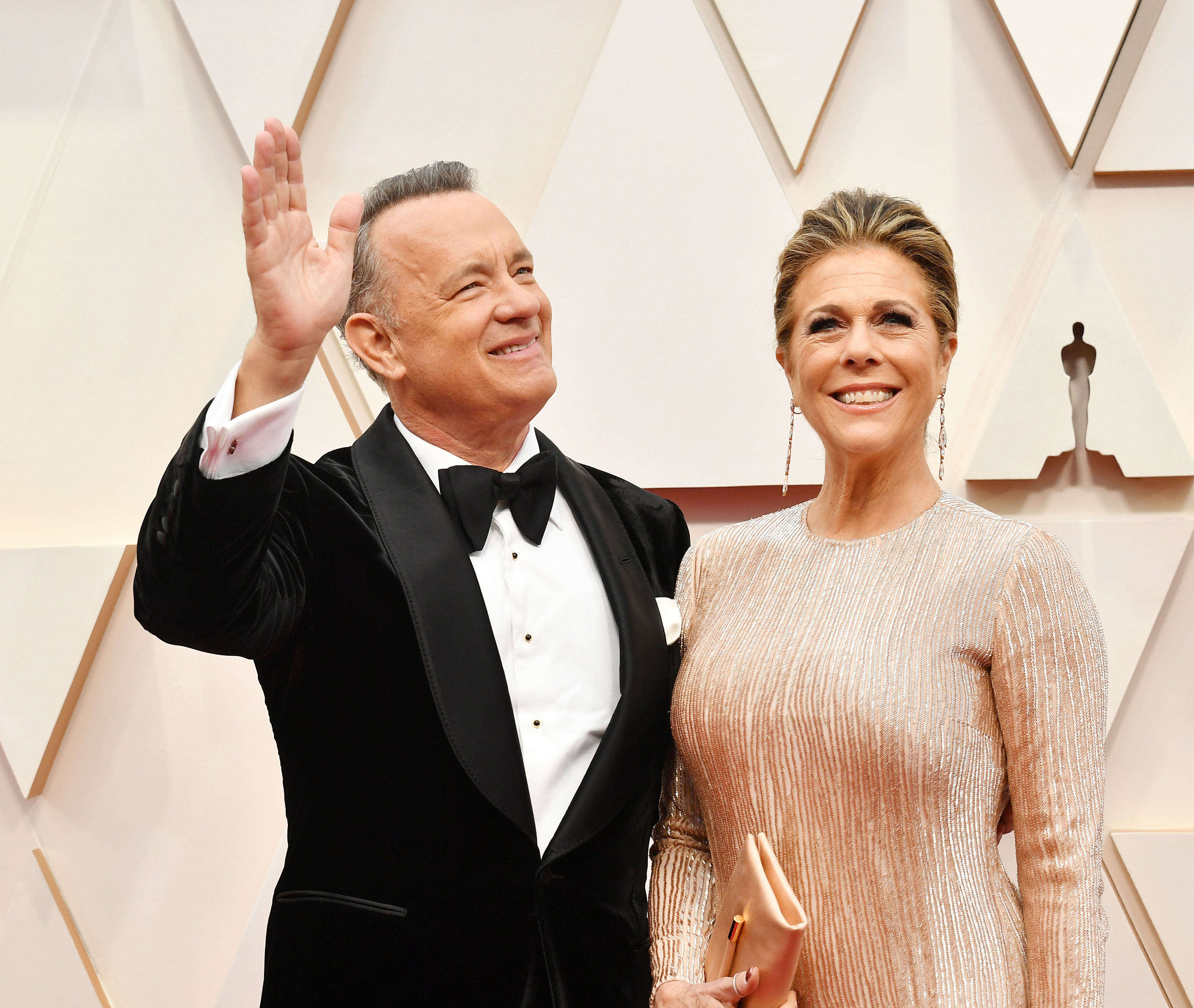 HOLLYWOOD, CALIFORNIA - FEBRUARY 09: (L-R) Tom Hanks and Rita Wilson attend the 92nd Annual Academy Awards at Hollywood and Highland on February 09, 2020 in Hollywood, California. (Photo by Amy Sussman/Getty Images)